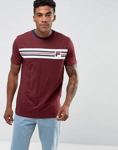 Бордовая футболка с логотипом на груди Fila Vintage - Красный