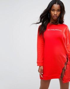 Свитшот со шнуровкой PrettyLittleThing - Красный