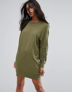 Трикотажное платье с молнией и логотипом на рукаве G-star Be Raw - Зеленый