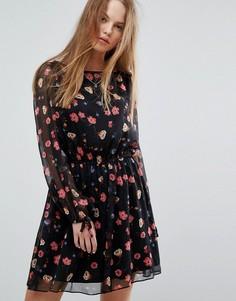Платье с цветочным принтом Tommy Hilfiger Denim - Черный