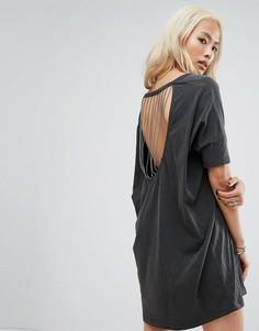 Свободное платье-футболка с принтом и цепочками на спине Religion - Черный