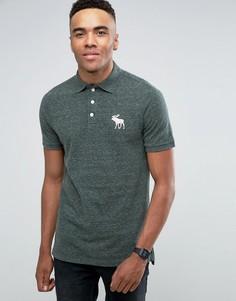 Зеленая меланжевая футболка-поло из пике Abercrombie & Fitch - Зеленый