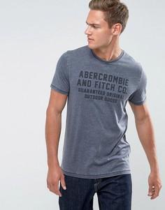 Темно-синяя облегающая футболка с логотипом Abercrombie & Fitch - Темно-синий