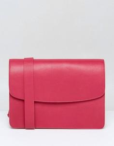 Структурированная кожаная сумка через плечо светло-вишневого цвета Vagabond - Розовый