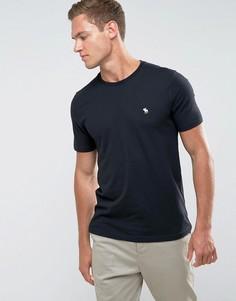 Черная облегающая футболка с круглым вырезом и логотипом Abercrombie & Fitch - Черный