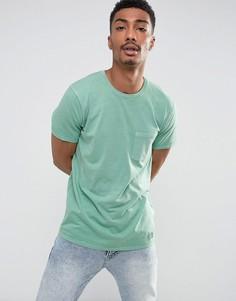 Зеленая узкая футболка с карманом Abercrombie & Fitch - Зеленый