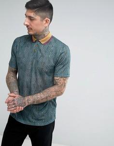 Свободная футболка-поло с принтом и воротником в стиле ретро ASOS - Зеленый