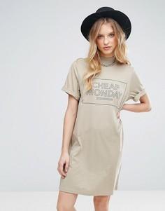 Платье-футболка с логотипом Cheap Monday - Коричневый
