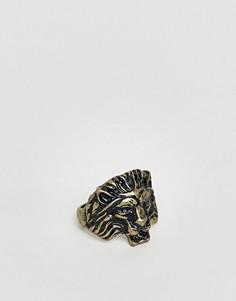 Золотистое кольцо со львом ASOS - Золотой