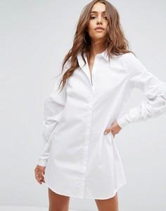 Платье-рубашка с простроченными рукавами Boohoo - Белый