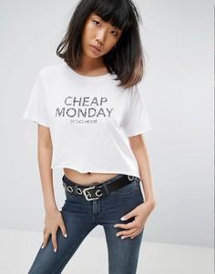 Асимметричная футболка с логотипом зебровой расцветки Cheap Monday - Белый