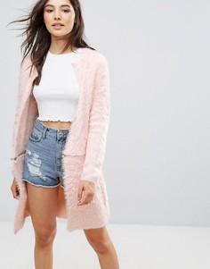 Пушистое пальто-кардиган QED London - Розовый