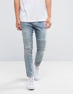 Выбеленные синие супероблегающие джинсы в байкерском стиле с потертостями Brooklyns Own - Синий