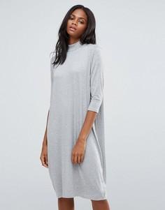 Свободное платье миди Pieces Tabitha - Серый