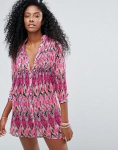 Пляжное платье-рубашка с абстрактным принтом Anmol - Красный