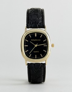 Часы с овальным корпусом и черным ремешком Philip Mercier - Черный