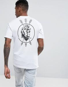 Белая футболка с принтом на спине Vans VA36FLWHT - Белый
