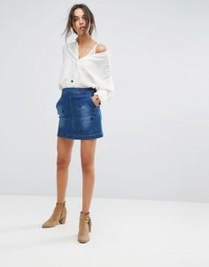 Джинсовая юбка с вышивкой Vanessa Bruno Athe Hariette - Синий