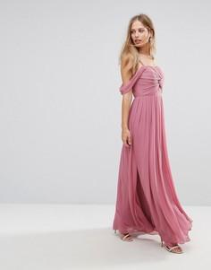 Платье макси с открытыми плечами Y.A.S - Фиолетовый