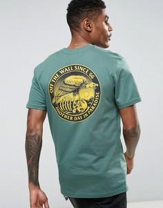 Зеленая футболка с принтом на спине Vans VA36FR1CI - Зеленый