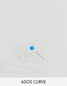 Серебряное кольцо с искусственным опалом ASOS CURVE - Серебряный