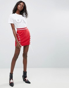 Мини-юбка со шнуровкой Missguided - Красный