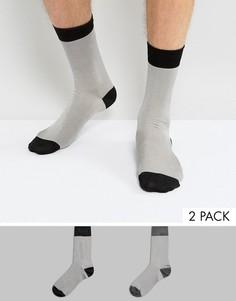 2 пары строгих носков с контрастным носком и пяткой ASOS - Мульти