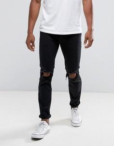 Черные выбеленные джинсы скинни с рваной отделкой Hollister - Черный