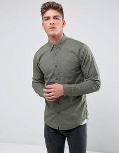 Зеленая поплиновая рубашка приталенного кроя с культовым логотипом Hollister - Зеленый