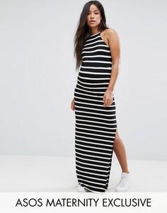 Платье макси в полосу с высоким воротом ASOS Maternity - Мульти