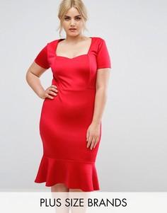 Облегающее платье миди с вырезом сердечком Club L Plus - Красный