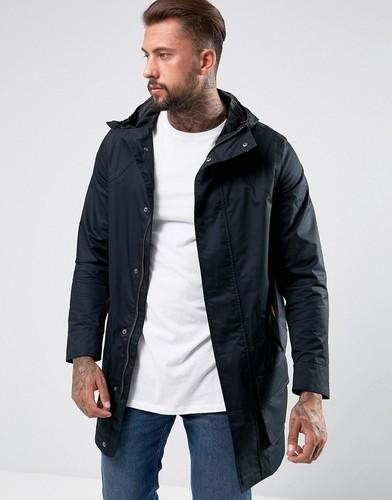 Черное длинное хлопковое пальто Hunter - Черный