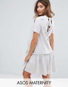Свободное платье с оборками и завязкой на спине ASOS Maternity - Серый