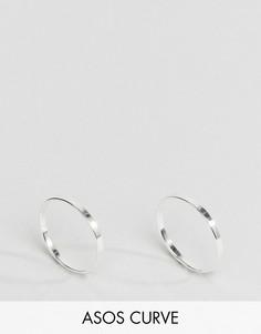 2 серебряных кольца ASOS CURVE - Серебряный