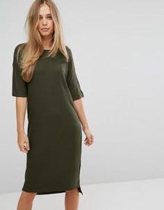 Платье миди в рубчик Selected - Зеленый