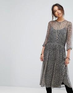 Платье миди с цветочным принтом Vanessa Bruno Athe - Темно-синий