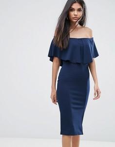 Облегающее платье с открытыми плечами и рюшами Lipsy - Темно-синий