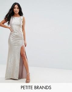Платье макси металлик с высоким воротом и узлом на спине TFNC Petite - Золотой