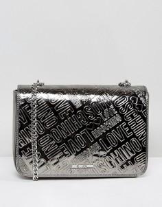 Сумка с логотипом Love Moschino - Серебряный