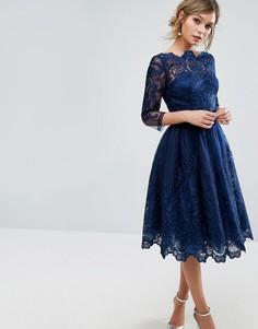 Кружевное платье миди с рукавами 3/4 Chi Chi London Premium - Темно-синий