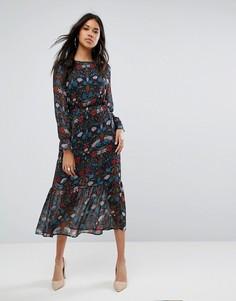 Платье миди с цветочным принтом Boohoo - Темно-синий