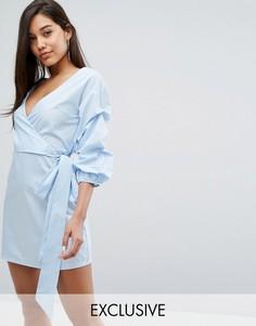 Платье-рубашка с запахом и оборками на рукавах Parallel Lines - Синий