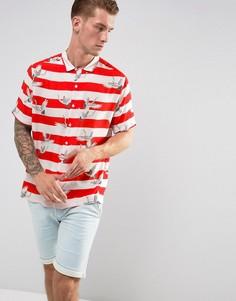 Красная полосатая рубашка с отложным воротником и принтом журавлей Jaded London - Красный