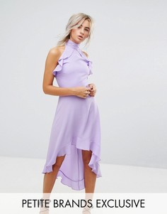 Платье миди с высоким воротом и запахом John Zack Petite - Фиолетовый