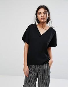 Блузка с V-образным вырезом Selected New Smile - Черный