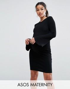 Облегающее платье мини в рубчик с оборками ASOS Maternity - Черный