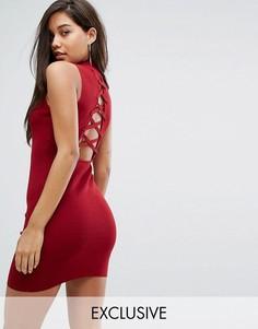 Трикотажное платье с высоким воротом и шнуровкой на спине Parallel Lines - Красный
