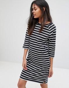 Трикотажное платье в полоску с рукавами 3/4 Selected Natali - Темно-синий