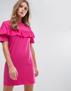 Свободное платье-футболка с оборкой Nobodys Child - Розовый