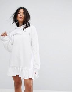 Свободное платье-худи со стразами The Ragged Priest - Белый
